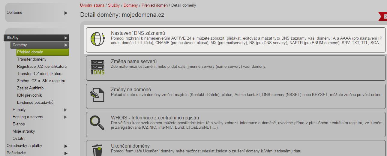 Nastavení DNS pro Active24