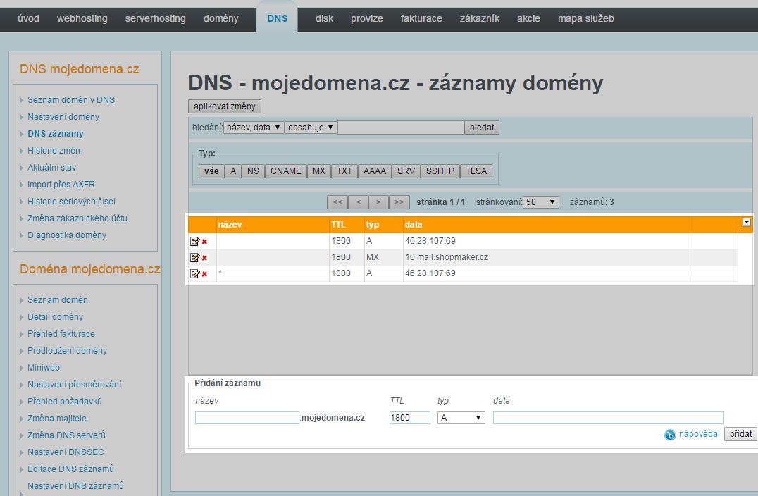 Nastavení DNS pro WEDOS