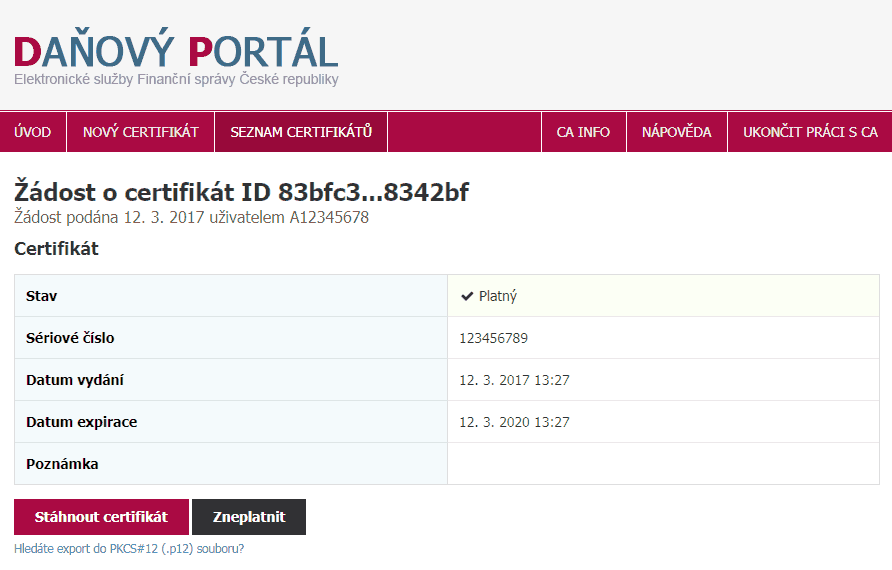 Daňový portál - Žádost o certifikát