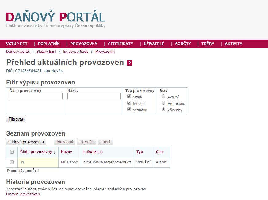 Daňový portál - Přehled provozoven