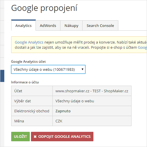 ShopMaker - Propojení s Google Analytics